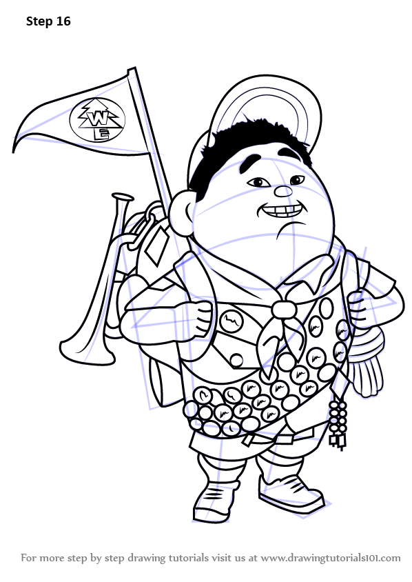 learn how to draw russell wilderness explorer from up  up  step by step   drawing tutorials