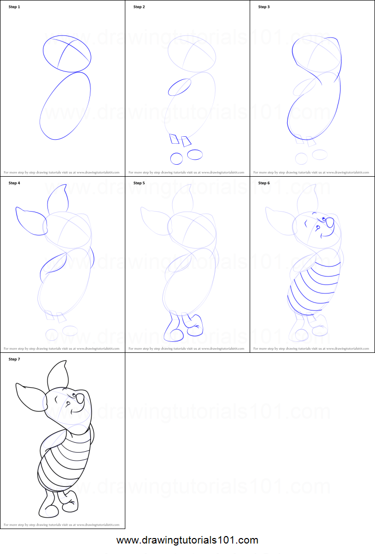 Step by step drawing tutorial on how to draw piglet from winnie the pooh