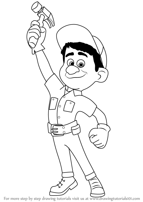 Learn How to Draw FixIt Felix Jr from WreckIt Ralph
