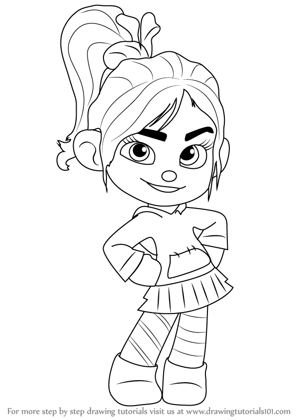 Learn How To Draw Vanellope Von Schweetz From Wreck It Wreck It Ralph Vanellope Coloring Pages