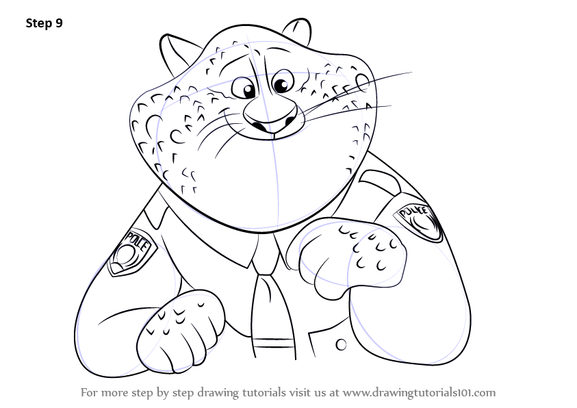 Step drawing tutorial on how to draw benjamin clawhauser from zootopia
