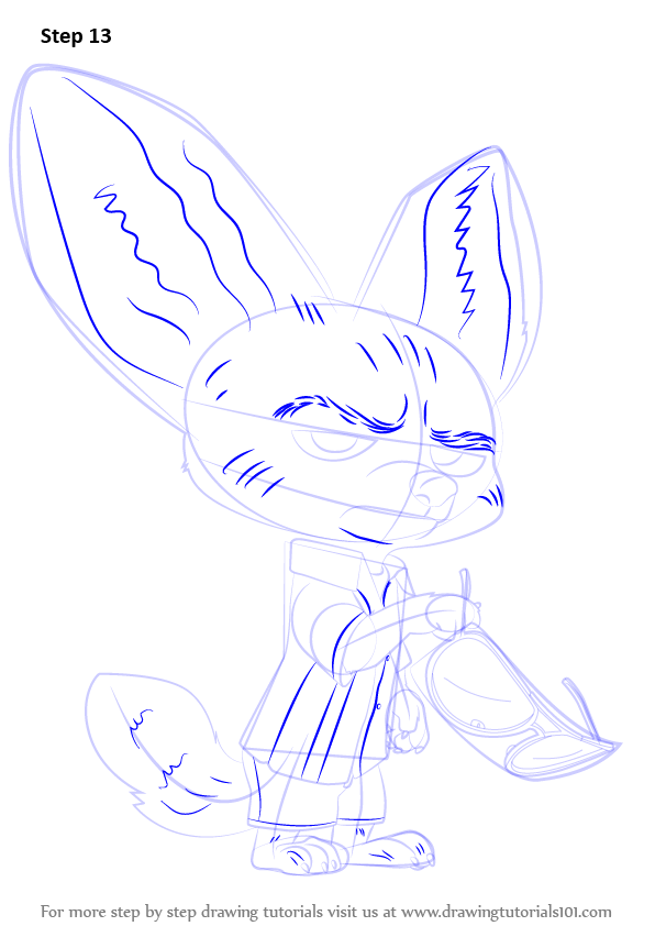Step By Step How To Draw Finnick From Zootopia