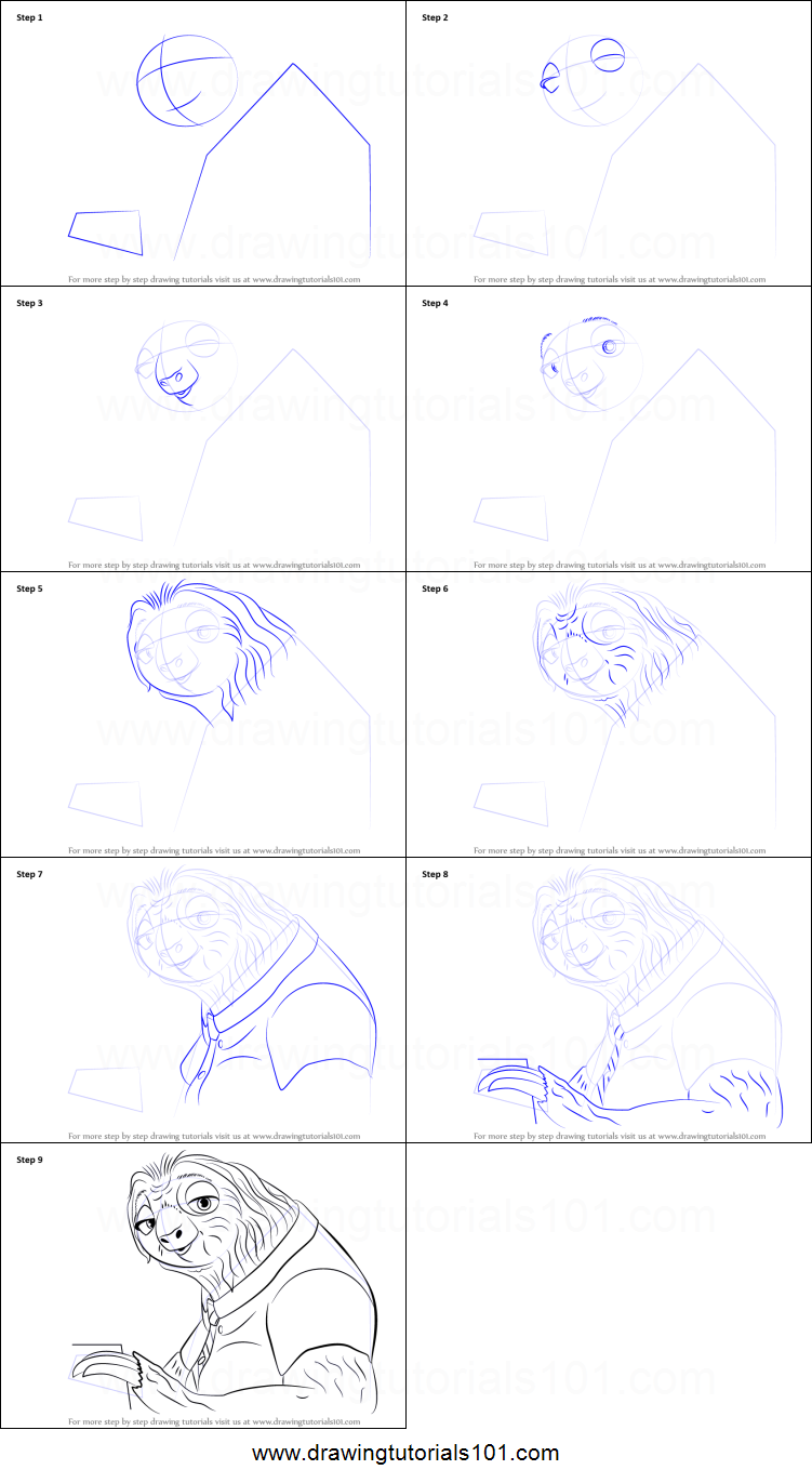 How To Draw Flash From Zootopia Printable Step By Step Drawing Sheet