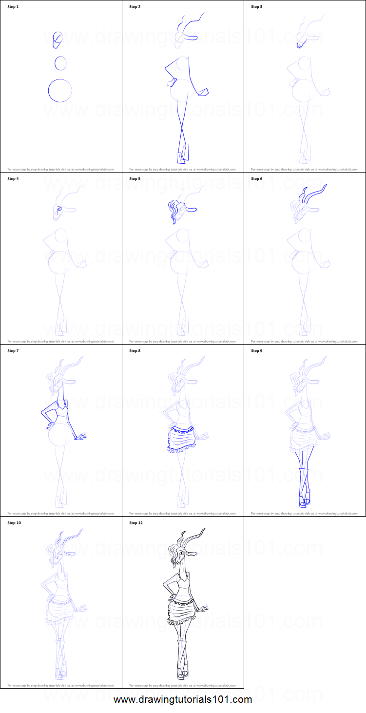 How To Draw Gazelle From Zootopia Printable Step By Step Drawing