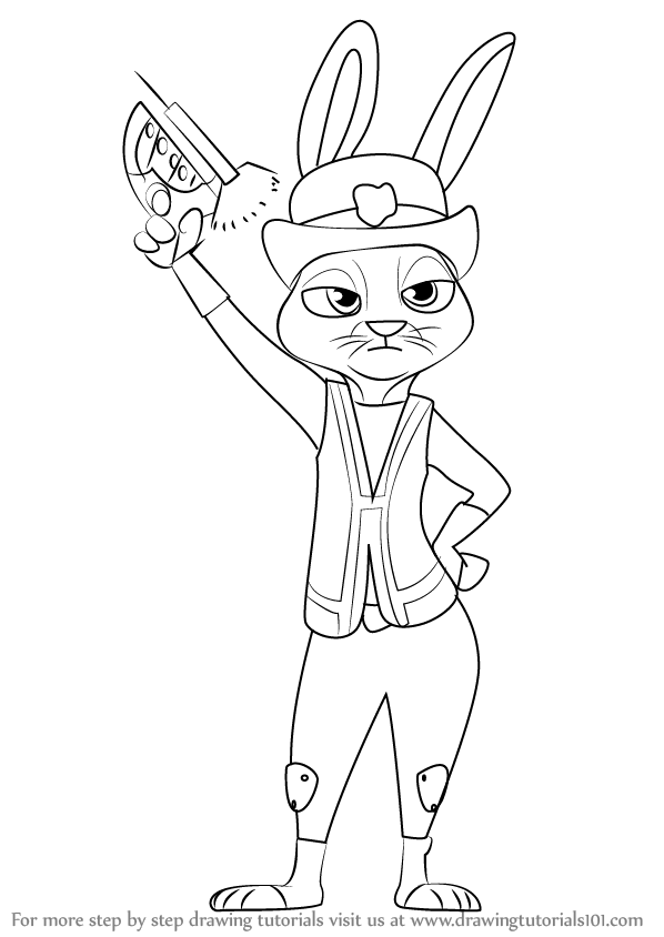 Zootopia Line Art : Learn how to draw judy hopps from zootopia step