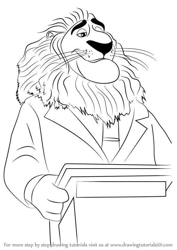 Step By Step How To Draw Mayor Lionheart From Zootopia
