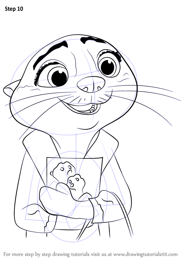 Step By Step How To Draw Mrs Otterton From Zootopia