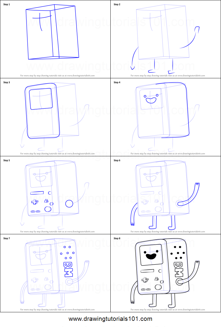 How to Draw BMO from Adventure Time printable step by step ...