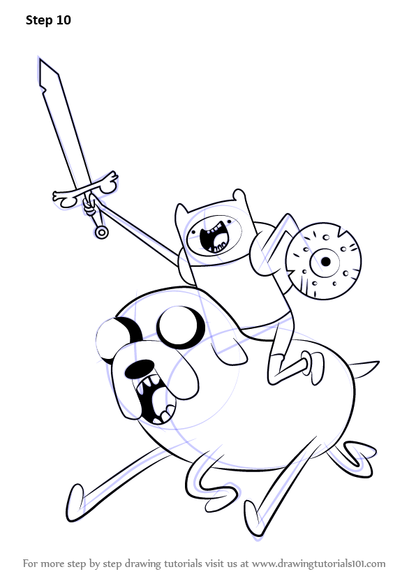 Learn How To Draw Finn Riding Jake From Adventure Time