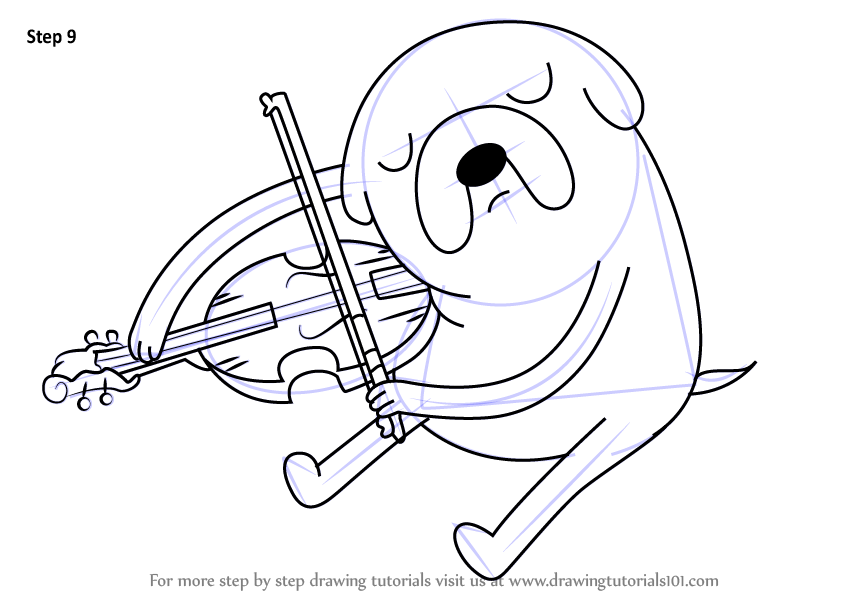 Learn how to draw jake playing viola from adventure time for Viola coloring page