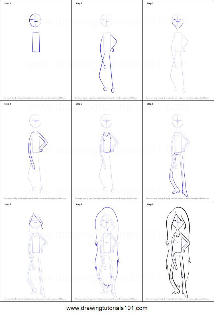 How to Draw Marceline the Vampire Queen from Adventure ...