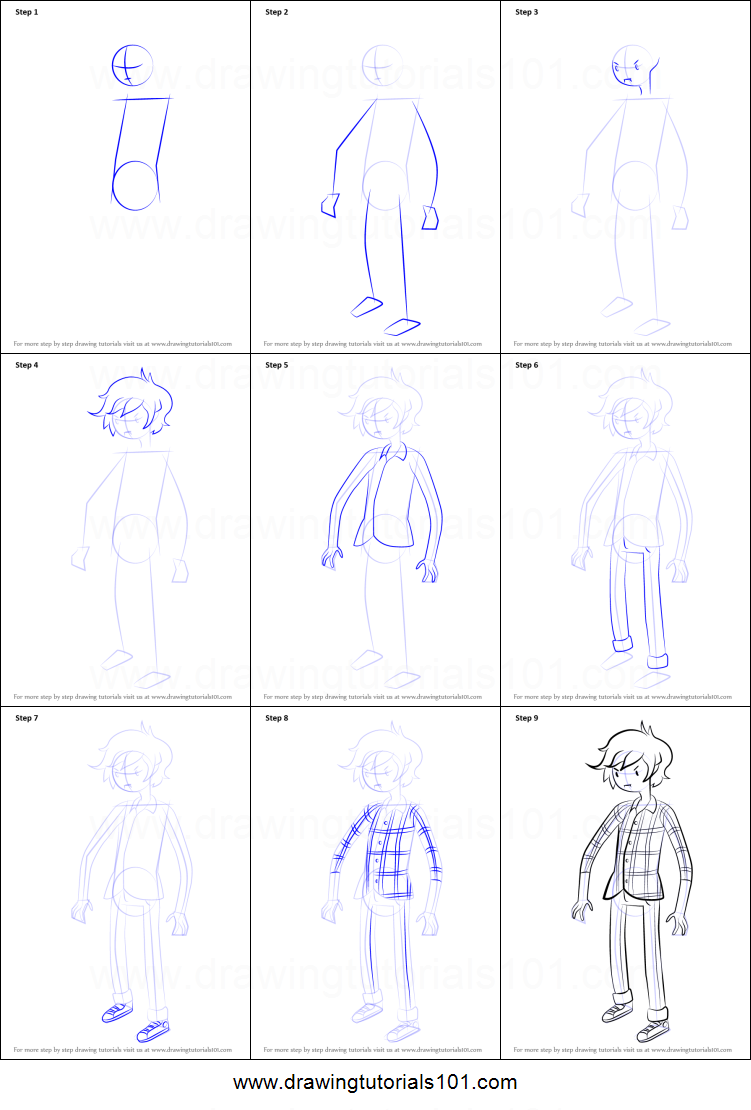 How to draw marshall lee from adventure time printable for How to make doodle art