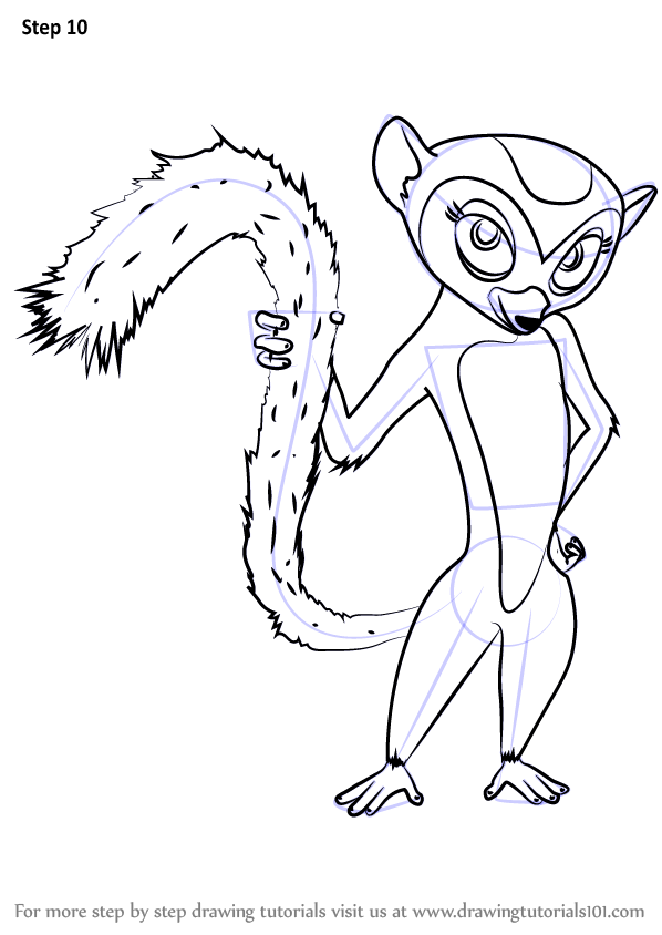 Funky Madagascar King Julian Coloring Pages Sketch Example Resume