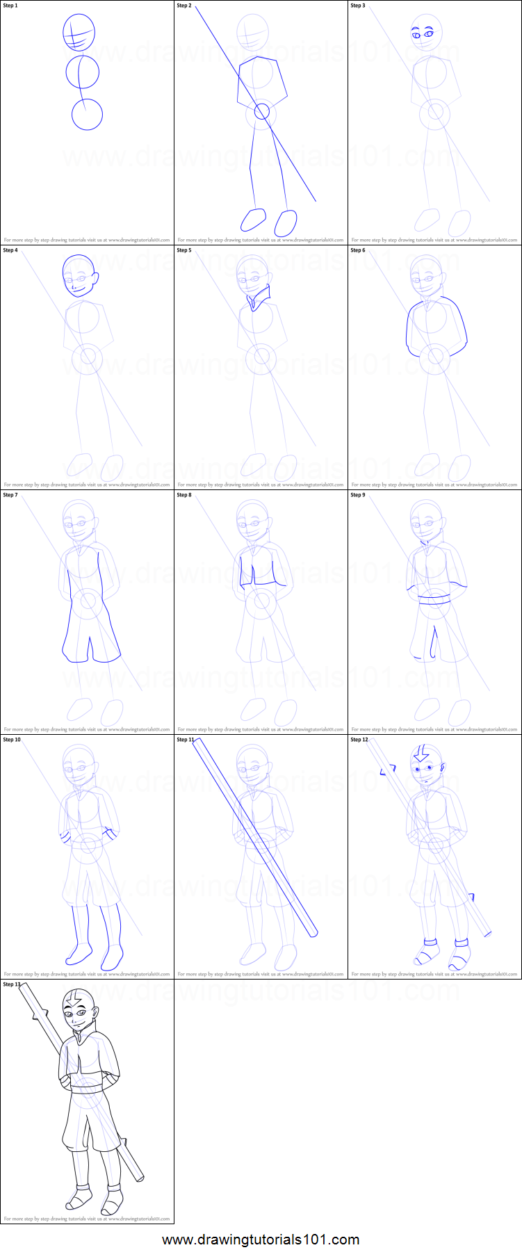 how to draw aang from avatar the last airbender printable step by step drawing sheet drawingtutorials101com