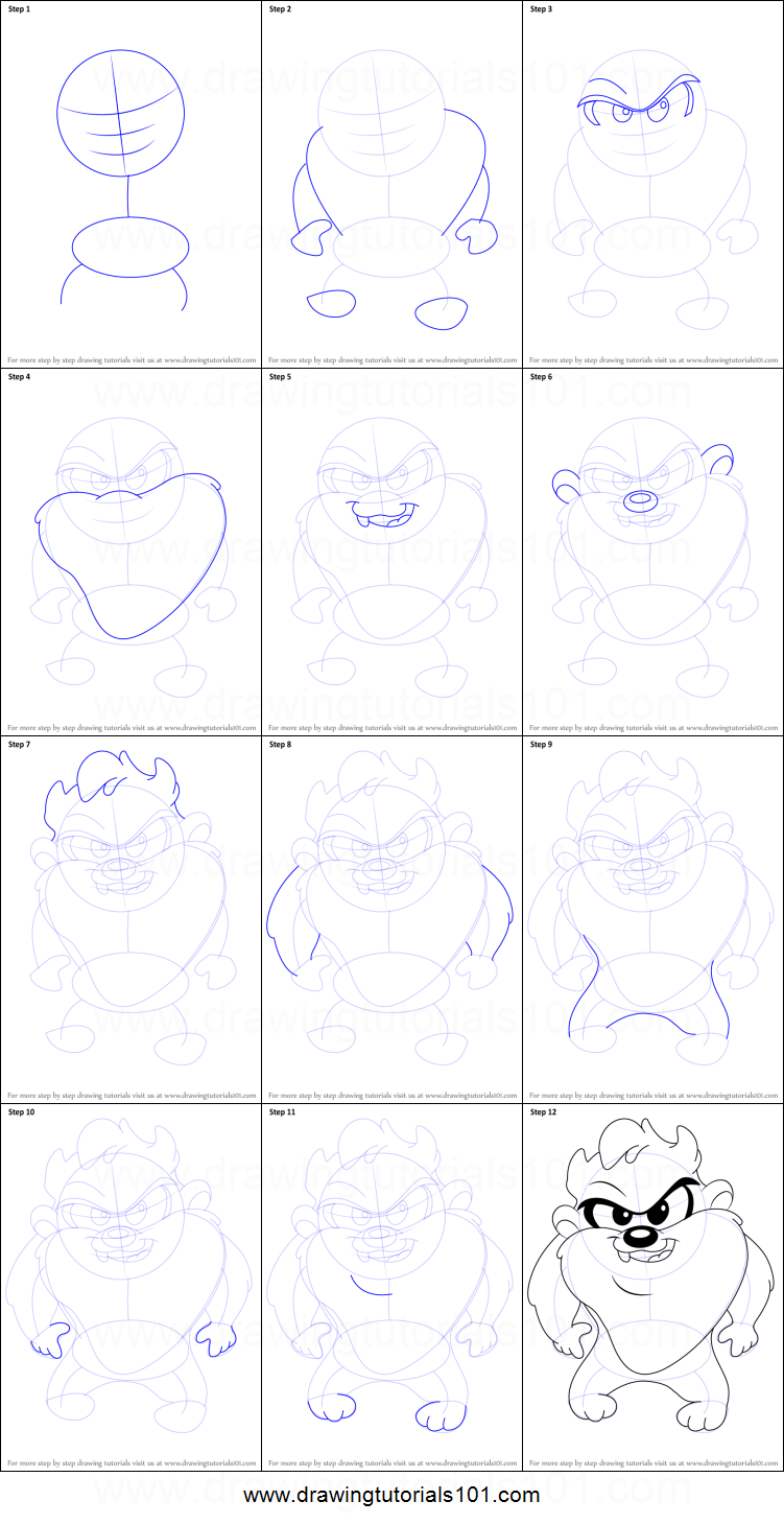 Cartoon Wolf: Easy Stepbystep Drawing Tutorial How To Draw Baby Taz  From Baby Looney Tunes