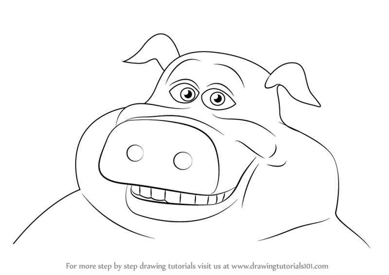 how to draw pig from back at the barnyard
