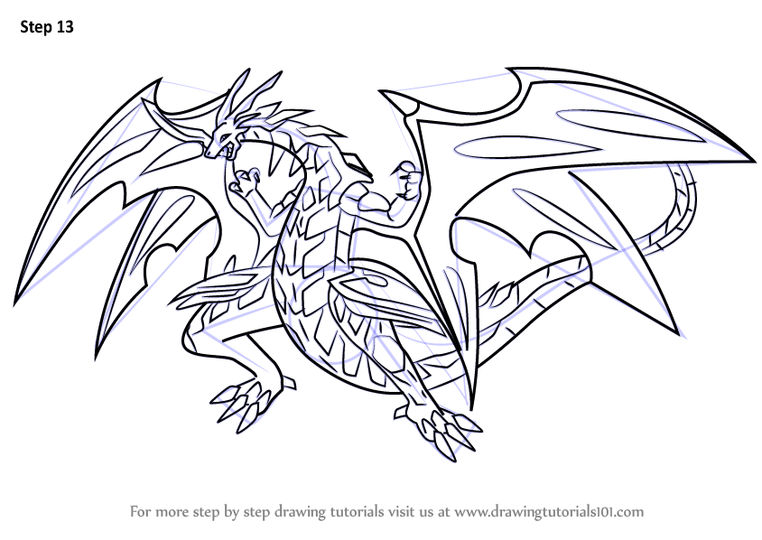 Learn How To Draw Neo Dragonoid From Bakugan Battle Brawlers Bakugan Battle Brawlers Step By