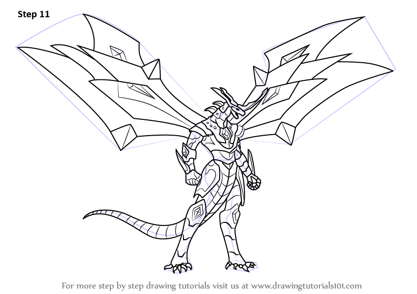 how to draw Titanium Dragonoid from Bakugan Battle Brawlers step 11