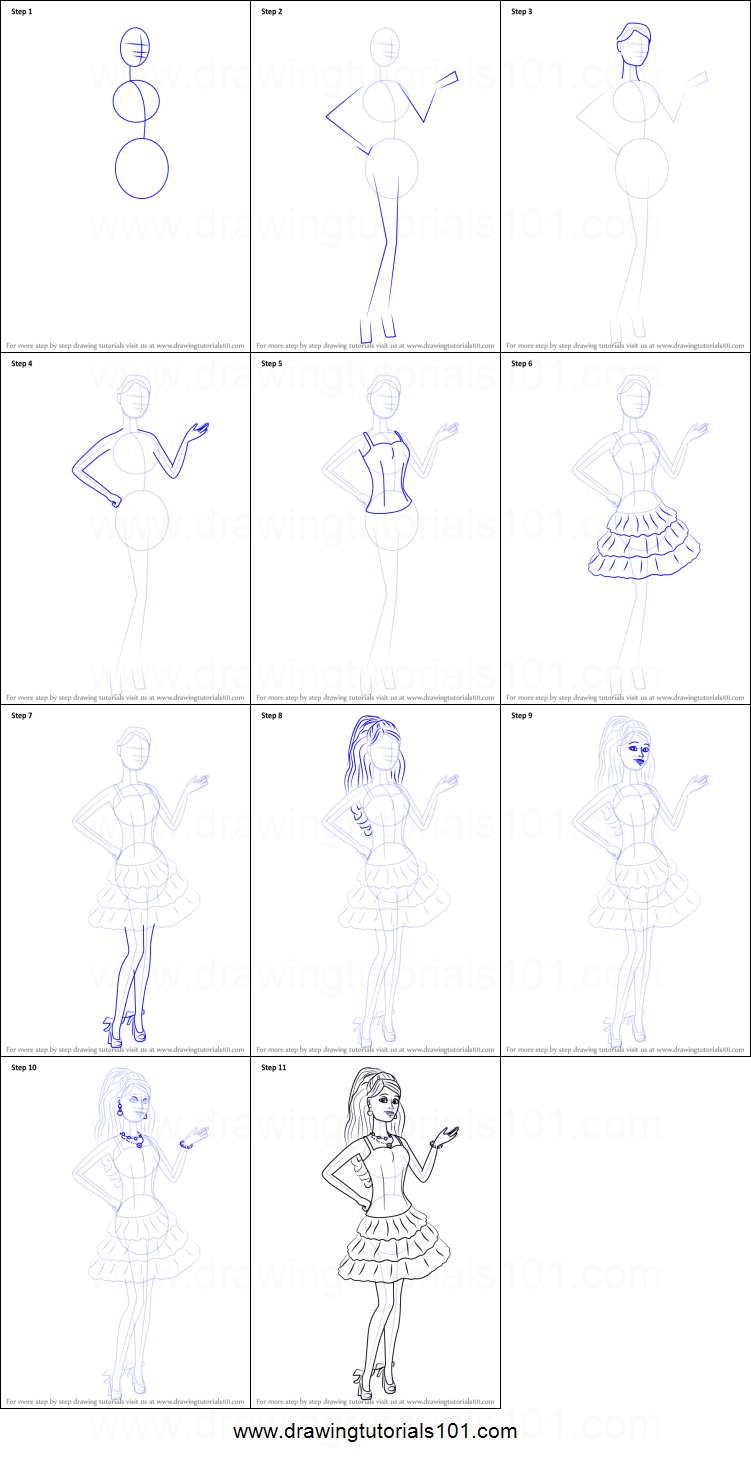 How To Draw Barbie From Barbie Life In The Dreamhouse Printable Step By Step Drawing Sheet ...