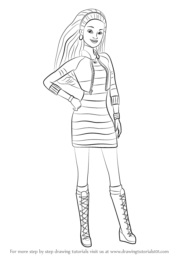 Pin drawn barbie line drawing 6 coloring pages barbie for How to draw a two story house step by step