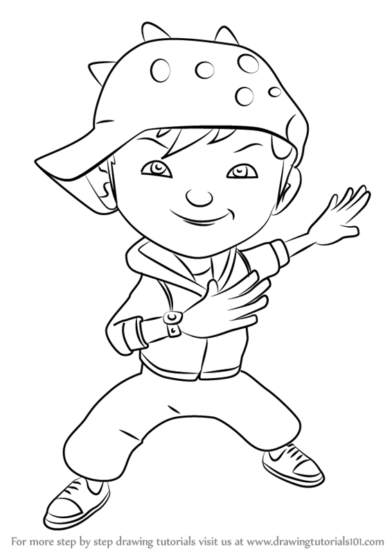 Learn How To Draw Boboiboy Wind From Boboiboy Boboiboy Step By
