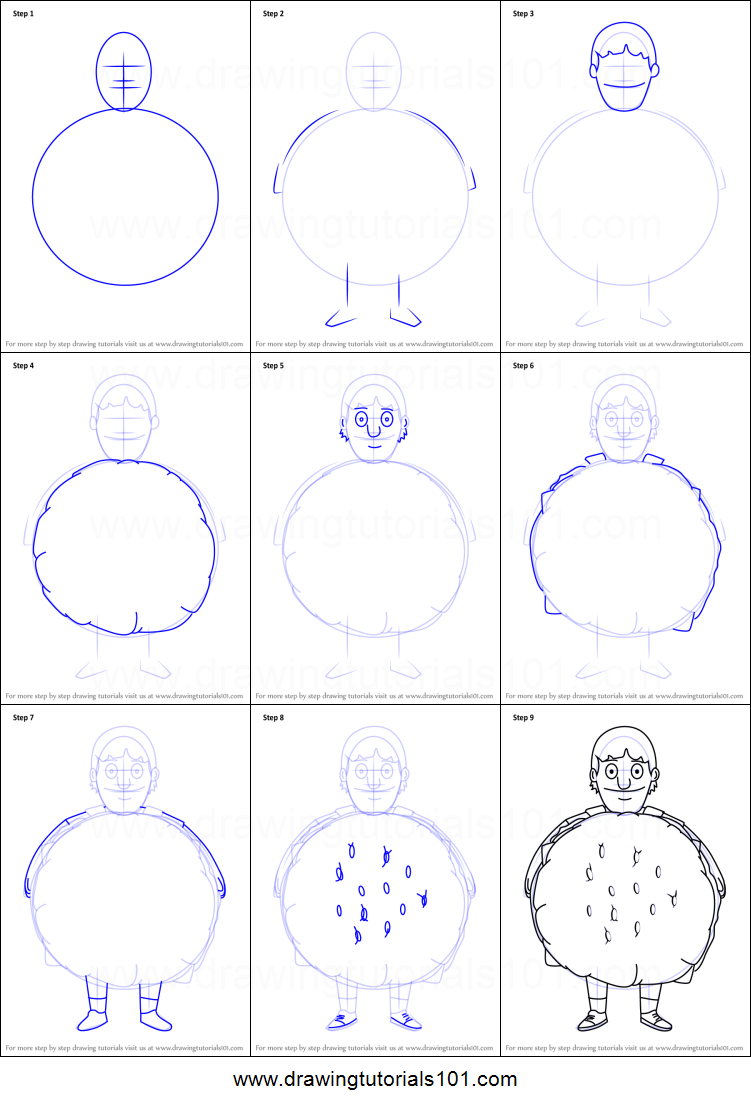 How To Draw Gene Belcher From Bob S Burgers Printable Step