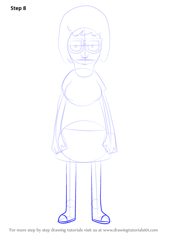 Step By Step How To Draw Tina Belcher From Bob S Burgers