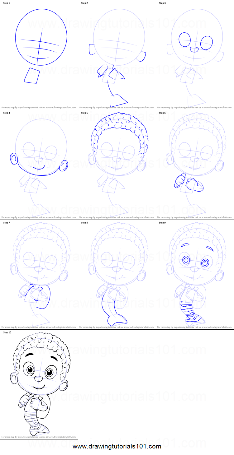 How to Draw Goby from Bubble Guppies printable step by step