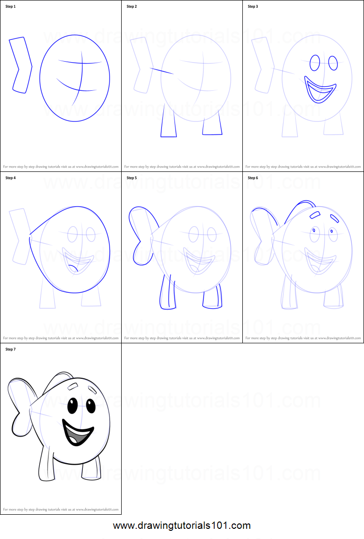 how to draw little fish from bubble guppies printable step by step