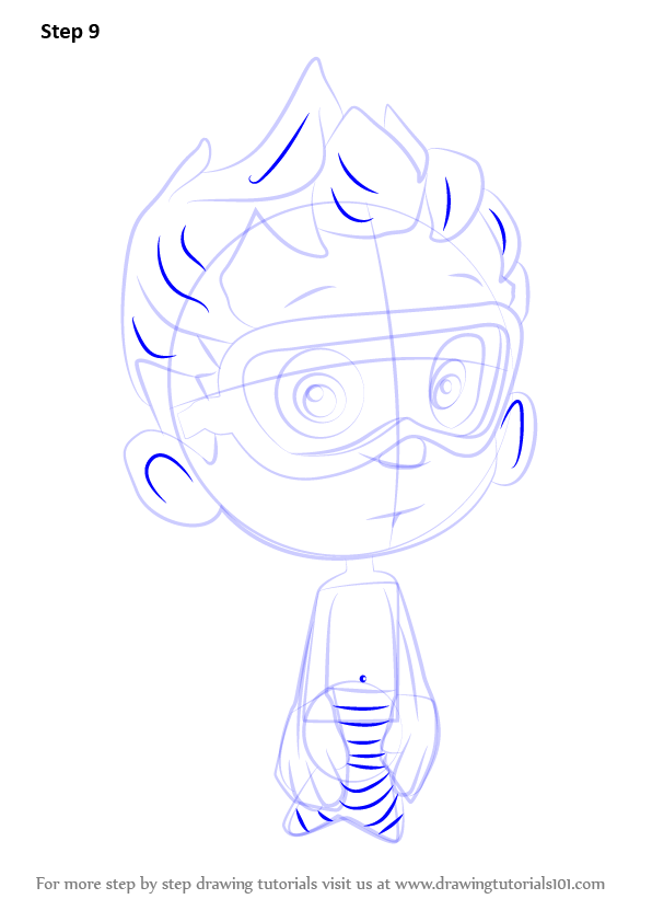 how to draw gil from bubble guppies step by step