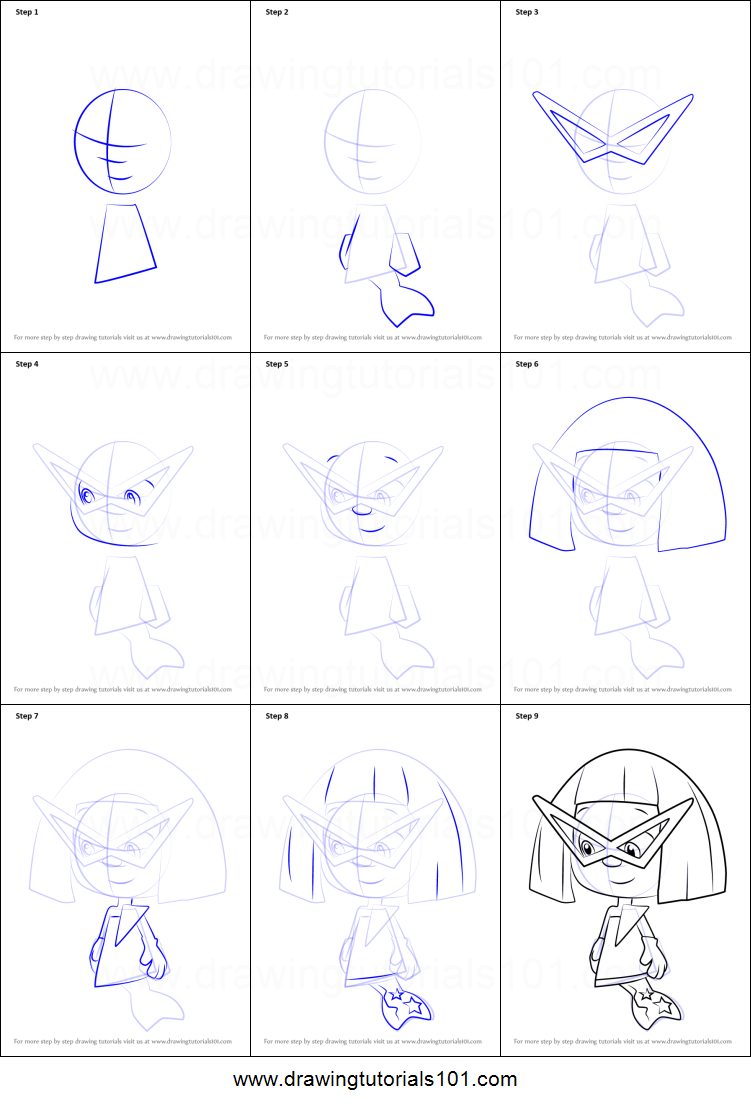 how to draw stylee from bubble guppies printable step by step
