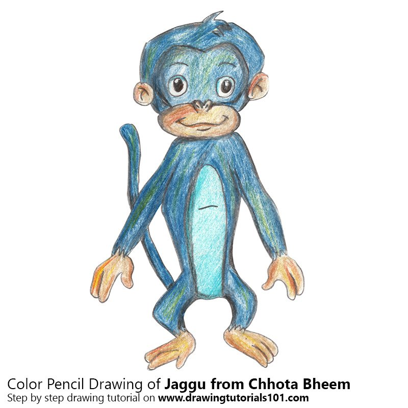 Jaggu from Chhota Bheem Color Pencil Drawing