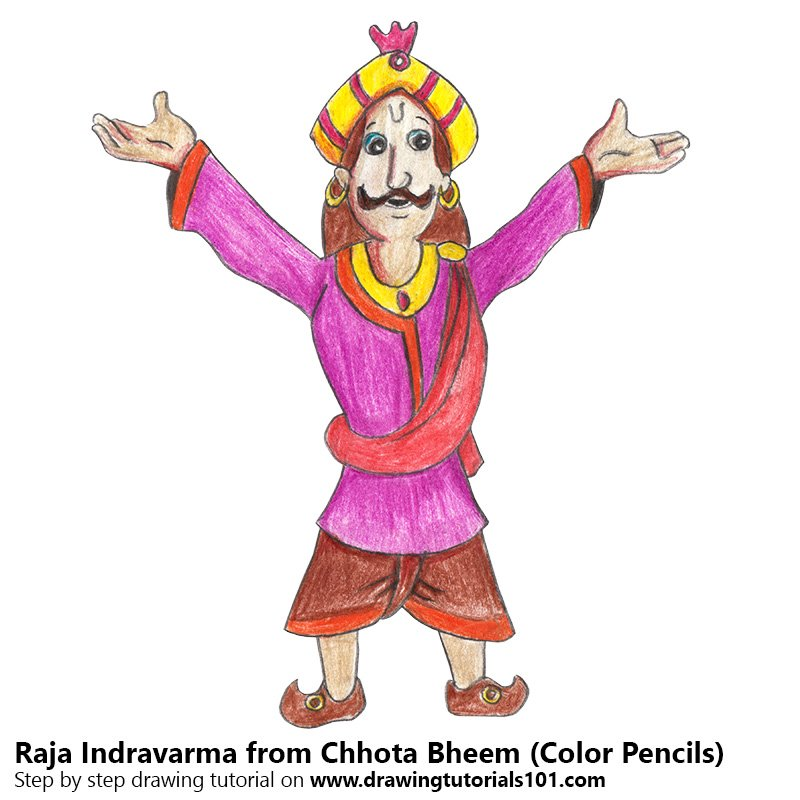 Raja Indravarma from Chhota Bheem Color Pencil Drawing