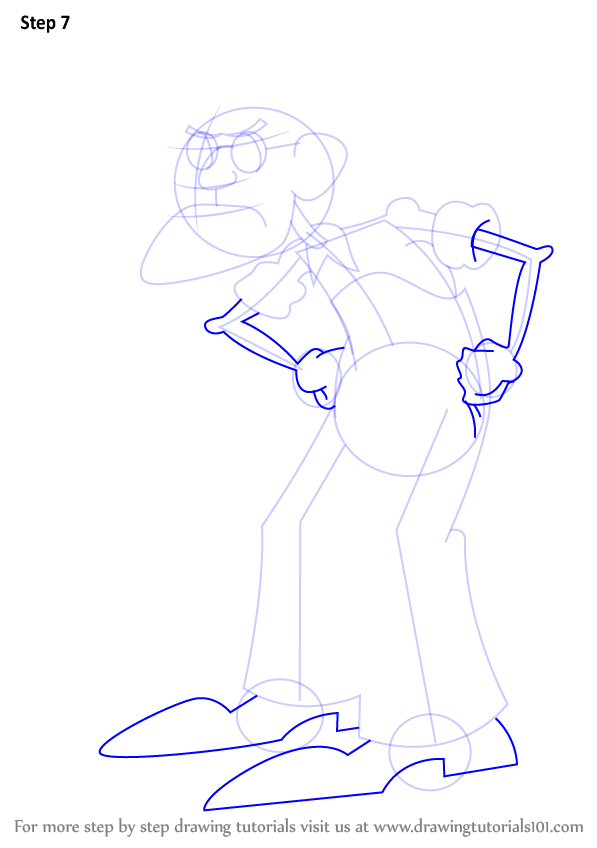 learn how to draw eustace bagge from courage the cowardly dog  courage the cowardly dog  step by