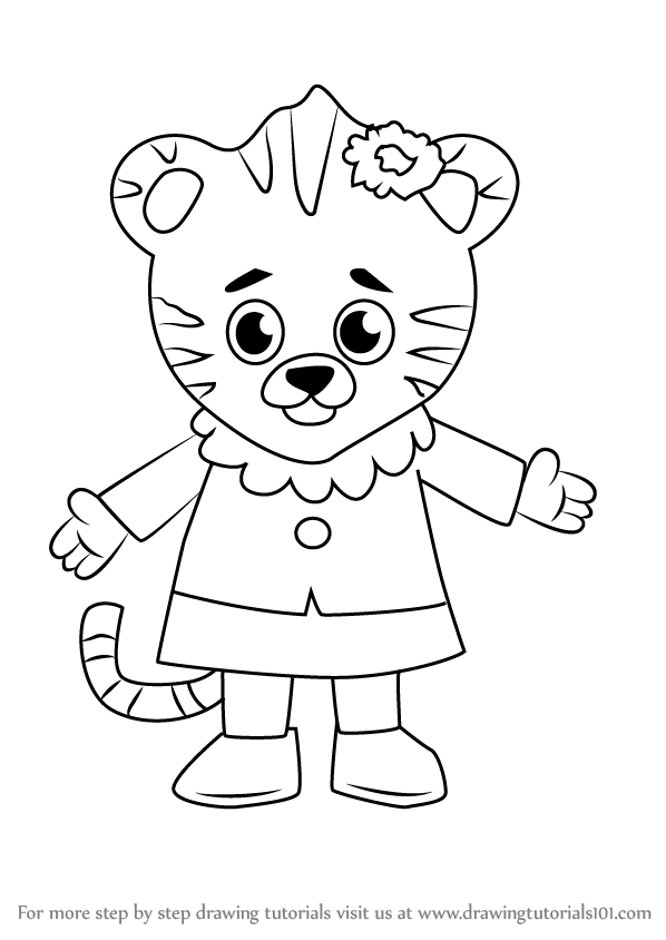 how to draw margaret tiger from daniel tigers neighborhood - Daniel Tiger Coloring Pages