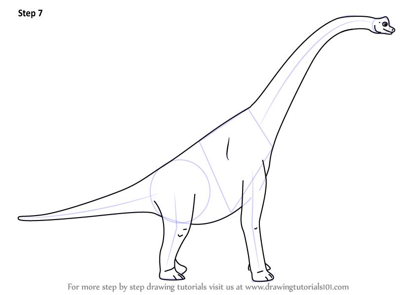 Динозавр картинка раскраска брахиозавр