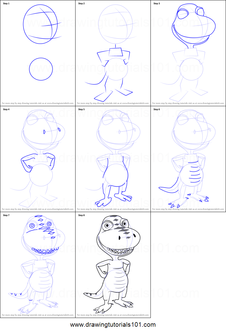 Step by step drawing tutorial on how to draw buddy tyrannosaurus from dinosaur train