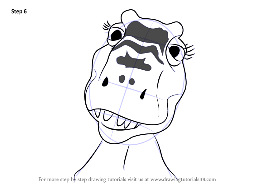 learn how to draw dolores tyrannosaurus from dinosaur train  dinosaur train  step by step