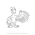 How to Draw Minnie Microraptor from Dinosaur Train