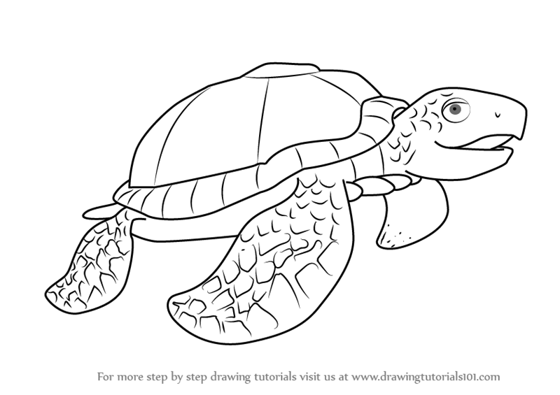 Step By Step How To Draw Mrs Archelon From Dinosaur Train