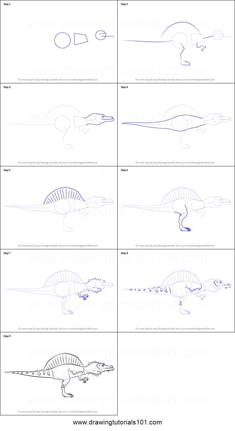 How to draw old spinosaurus from dinosaur train printable