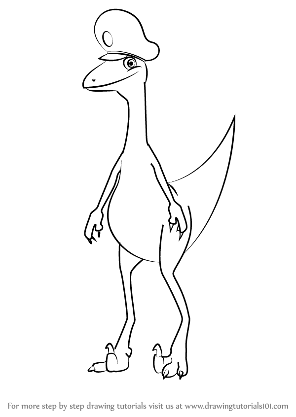 Learn How To Draw The Station Master Troodon From Dinosaur Train Dinosaur Train Step By Step