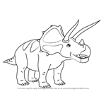 How to Draw Todd Triceratops from Dinosaur Train