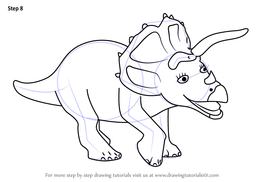 step by step how to draw trudy triceratops from dinosaur train. Black Bedroom Furniture Sets. Home Design Ideas