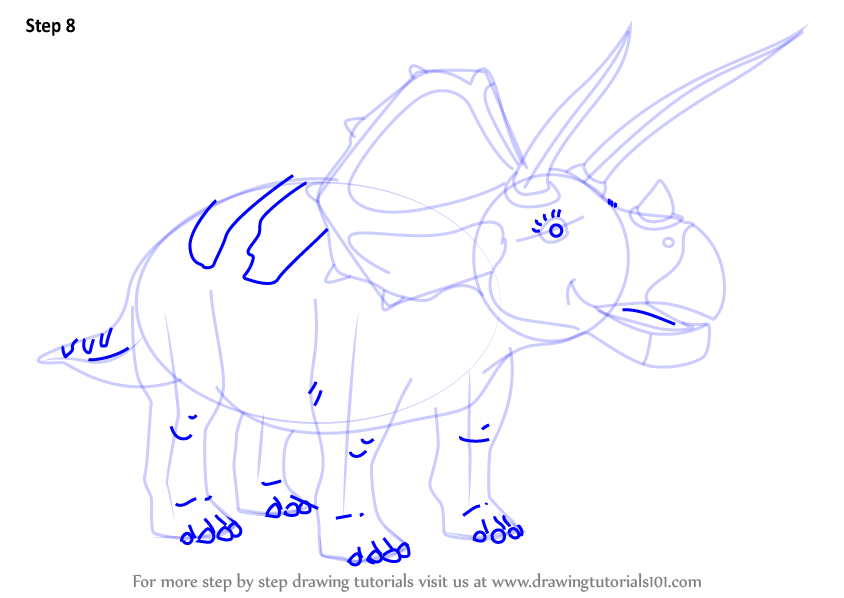 learn how to draw truman triceratops from dinosaur train dinosaur train step by step drawing. Black Bedroom Furniture Sets. Home Design Ideas