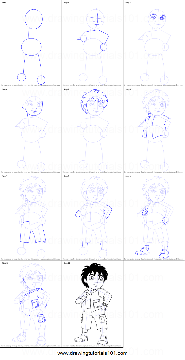 Uncategorized How To Draw Dora Step By Step how to draw diego from dora the explorer printable step by drawing sheet drawingtutorials101 com