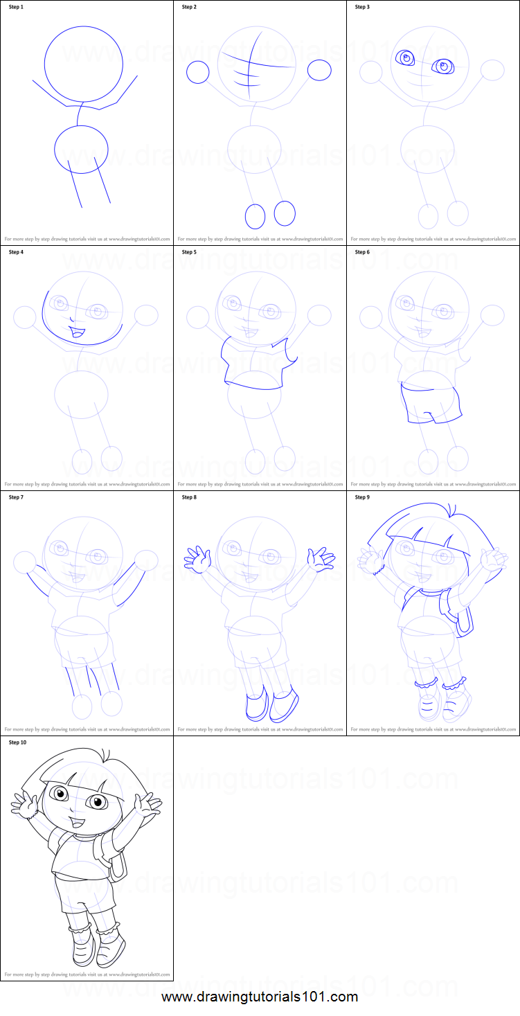 Uncategorized How To Draw Dora Step By Step how to draw dora marquez from the explorer printable step by drawing sheet drawingtutorials101 com
