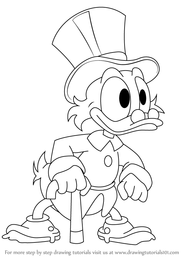 Step By Step How To Draw Scrooge Mcduck From Ducktales