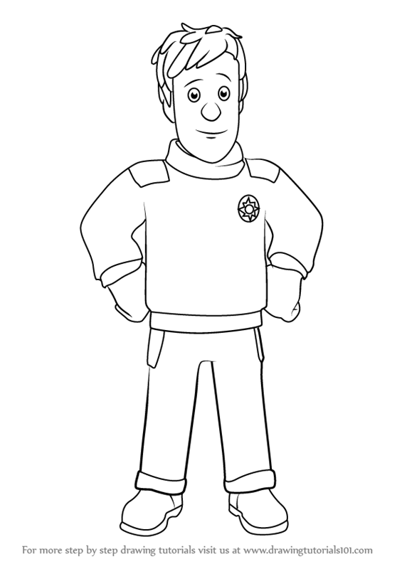 Learn How To Draw Ben Hooper From Fireman Sam Fireman Sam Step By