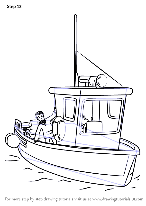 how to draw a motor boat step by step